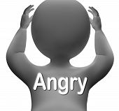 stock photo of outrageous  - Angry Character Meaning Mad Outraged Or Furious - JPG