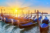 image of gondola  - Venetian gondolas at sunrise - JPG