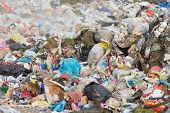 stock photo of landfill  - Pile of diverse domestic garbage in landfill - JPG