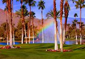 Beautiful rainbow at golf course