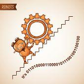 image of upstairs  - Robot pushing heavy gear upstairs - JPG