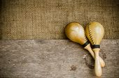 picture of congas  - Percussion on sackcloth and old wood stock photo
