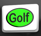 stock photo of miniature golf  - Golf Button Meaning Golfer Club Or Golfing - JPG