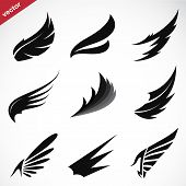 picture of eagle  - Vector black wing icons set on white background - JPG
