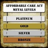 foto of bronze silver gold platinum  - Grunge ACA or Affordable Care Act Metal Levels on signs including Platinum Gold Silver and Bronze along with dollars signs for each level - JPG