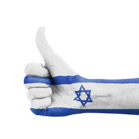 stock photo of israel people  - Hand with thumb up Israel flag painted as symbol of excellence achievement good  - JPG