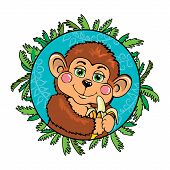 pic of chimp  - Funny monkey with a banana in her hand - JPG