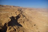 pic of zealots  - View on Judean desert and Roman fortification ruins from Masada fortress Israel