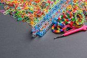 image of loom  - Colorful of elastic rainbow loom bands - JPG