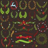 stock photo of laurel  - Vector Collection of Christmas Holiday Themed Laurels and Wreaths - JPG