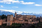 picture of palace  - Famous Alhambra is a palace and fortress complex located in Granada Andalusia Spain - JPG