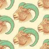 image of ram  - Sketch New Year ram in vintage style seamless pattern - JPG
