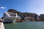 stock photo of gibraltar  - New cruiseship moored at Gibraltar marina - JPG