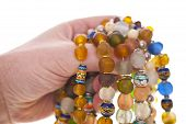 stock photo of cameos  - Close up of colorful Glass Bead Necklaces - JPG