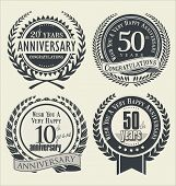 picture of laurel  - Anniversary laurel wreath retro vintage design vector - JPG