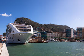 stock photo of gibraltar  - New cruiseship moored at Gibraltar marina - JPG