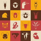 picture of animal husbandry  - Farm animal icons on colorful background - JPG