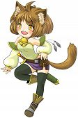 picture of manga  - Fantasy female cat warrior in Japanese manga illustration style create by vector - JPG