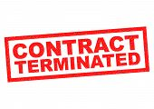 image of terminator  - CONTRACT TERMINATED red Rubber Stamp over a white background - JPG