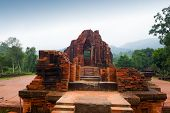 picture of champa  - MySon temple red bricks in cloudy weather Vietnam - JPG