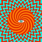 stock photo of hypnotic  - Vector color hypnotic retro poster with eye - JPG