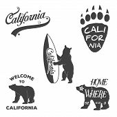 stock photo of bear  - Vector vintage monochrome California badges and design elements for t shirt print - JPG
