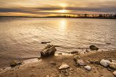 stock photo of recreation  - Smithville Lake towards dusk as the sun was going down - JPG