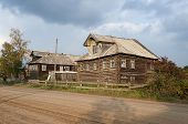 foto of wooden shack  - Old wooden houses in northern russian village - JPG