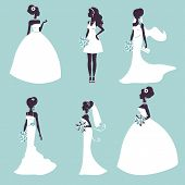 stock photo of bridal veil  - Set of elegant brides in silhouette - JPG