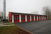 stock photo of fire-station  - Garages of a public fire station in Germany - JPG