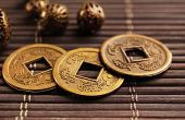 image of copper coins  - Feng shui coins on table close - JPG