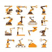 picture of robotics  - set of 16 robotic arm icons - JPG