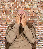 picture of sorrow  - portrait of elderly retired man in sorrow - JPG
