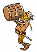 stock photo of drawing beer  - Illustration a cartoon viking - JPG
