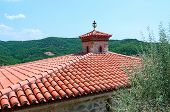 foto of meteor  - Greece Meteors red tile roof of male monastery of Varlaam - JPG