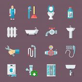 stock photo of pipeline  - Pipeline plumbing and heating reparation service and  sink drain cleaning kit flat icons composition vector isolated illustration - JPG