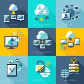 stock photo of vpn  - Network concept set with upload social network internet icons set isolated vector illustration - JPG