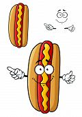foto of wavy  - Smiling cartoon hotdog character with fresh bun - JPG
