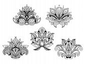 stock photo of embellish  - Delicate openwork paisley flowers with pointed petals and leaves for vintage textile or lace embellishment design - JPG