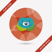 stock photo of flat-bed  - Pet Bed Flat Icon With Long Shadow - JPG