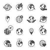 stock photo of save earth  - Global earth ecological travel symbols pictograms set with love saving planet hands black abstract isolated vector illustration - JPG