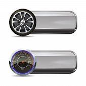 stock photo of speedometer  - Tire service horizontal banners set with realistic wheel and speedometer elements isolated vector illustration - JPG