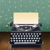 foto of  realistic  - Retro style realistic typewriter with paper sheet on wooden desk with wallpaper background vector illustration - JPG
