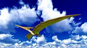 stock photo of pteranodon  - Flying pterodactyl over the sky - JPG