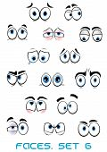 picture of sketch book  - Cartoon blue eyes with eyebrows showing different emotions as happy - JPG