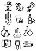 stock photo of tubes  - Medicine or drugs icons in outline sketch style with bottles - JPG