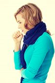 pic of cough  - Young woman has a flu - JPG