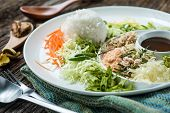 """stock photo of thai cuisine  - Thai Cuisine """"Khao Yum"""" rice salad Studio Shot ** Note: Shallow depth of field ** Note: Visible grain at 100%, best at smaller sizes - JPG"""