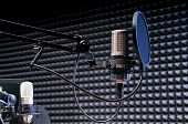 stock photo of recording studio  - professional studio grade microphone with anti - JPG
