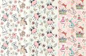stock photo of baby sheep  - babies hand draw seamless pattern with animals - JPG